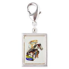 Carousel Horses Silver Portrait Charm