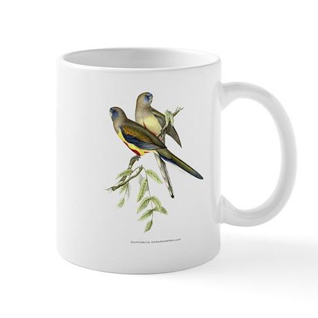 Antique 1875 John Gould Parakeets Bird Print Mug