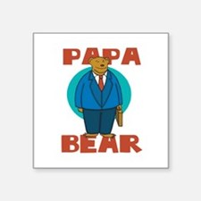 "Papa Bear Square Sticker 3"" x 3"""