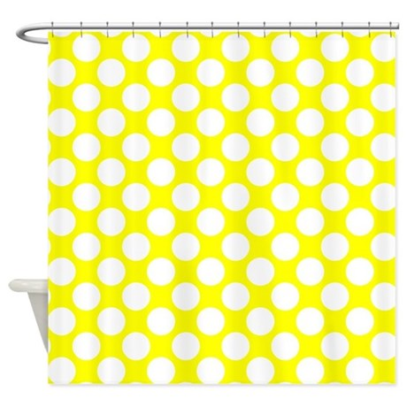 Yellow And White Polka Dot Shower Curtain By Polkadotted