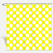 Yellow and White Polka Dot Shower Curtain