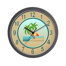 Art Deco Palm Trees Wall Clock