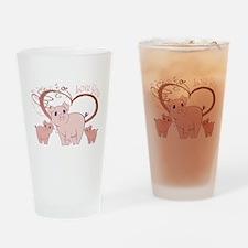 Love You, Cute Piggies Art Drinking Glass