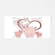 Love You, Cute Piggies Art Aluminum License Plate