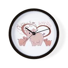 Love You, Cute Piggies Art Wall Clock