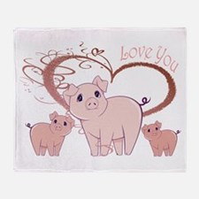 Love You, Cute Piggies Art Throw Blanket