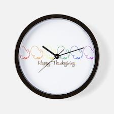 Happy Thanksgiving (Rainbow T Wall Clock