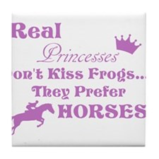 Real Pricesses Don't kiss Frogs! Tile Coaster