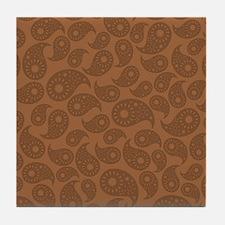 Brown Paisley. Tile Coaster