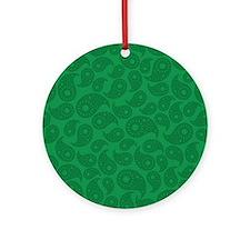 Dark Green Paisley. Ornament (Round)