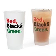 Red, Black and Green. Drinking Glass