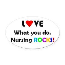 Nursing Rocks Oval Car Magnet