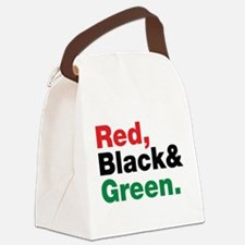 Red, Black and Green. Canvas Lunch Bag