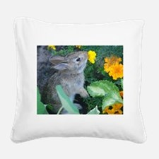 baby bunny horizontal design Square Canvas Pillow