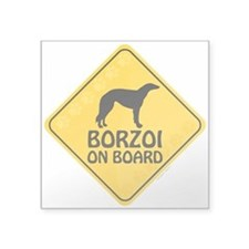 "Borzoi On Board Square Sticker 3"" x 3"""