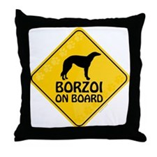 Borzoi On Board Throw Pillow