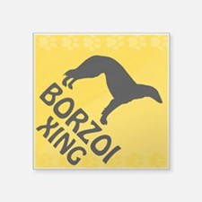 """Borzoi Xing Square Sticker 3"""" x 3"""""""