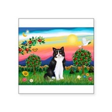 Bright Country / (B&W) Cat Rectangle Sticker