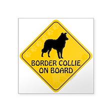 """Border Collie On Board Square Sticker 3"""" x 3"""""""
