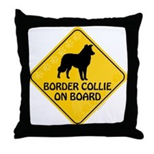Border Collie On Board Throw Pillow