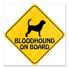 "Bloodhound On Board Square Car Magnet 3"" x 3"""