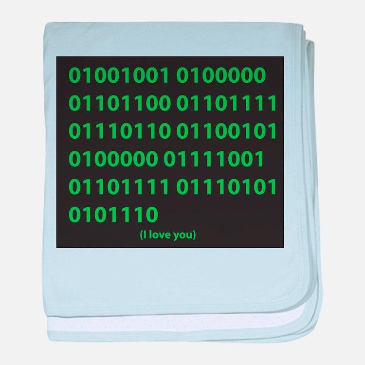 I LOVE YOU binary code baby blanket