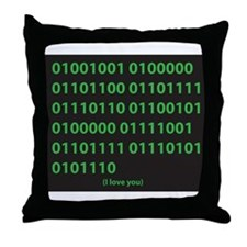 I LOVE YOU binary code Throw Pillow