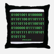I LOVE YOU binary code Throw Pillow
