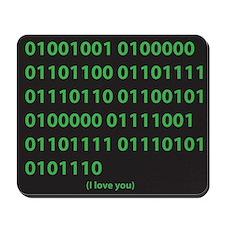 I LOVE YOU binary code Mousepad