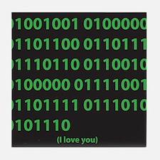 I LOVE YOU binary code Tile Coaster