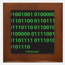I LOVE YOU binary code Framed Tile