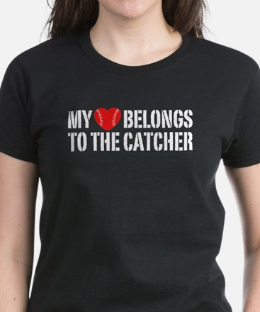 My Heart Belongs To The Catcher Women's Dark T-Shi