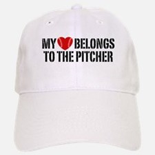 My Heart Belongs To The Pitcher Baseball Baseball Cap