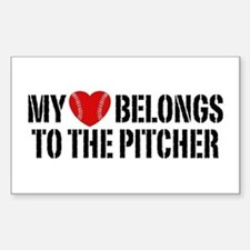 My Heart Belongs To The Pitcher Decal