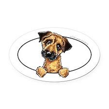 Border Terrier Peeking Oval Car Magnet