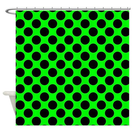 Lime And Black Polka Dot Shower Curtain By Polkadotted