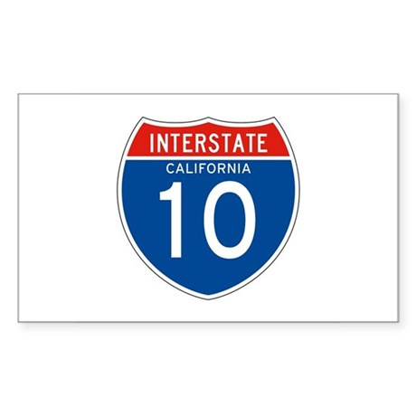 Interstate 10 - CA Rectangle Sticker