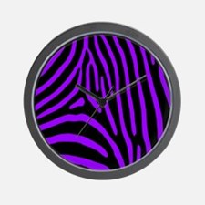 Black and Purple Zebra Stripes Wall Clock