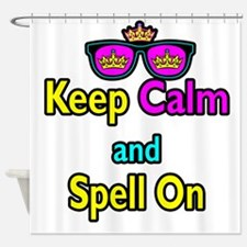 Crown Sunglasses Keep Calm And Spell On Shower Cur