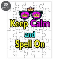 Crown Sunglasses Keep Calm And Spell On Puzzle