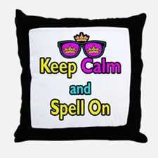 Crown Sunglasses Keep Calm And Spell On Throw Pill