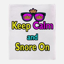Crown Sunglasses Keep Calm And Snore On Throw Blan