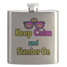 Crown Sunglasses Keep Calm And Slumber On Flask