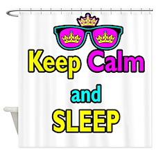 Crown Sunglasses Keep Calm And Sleep Shower Curtai
