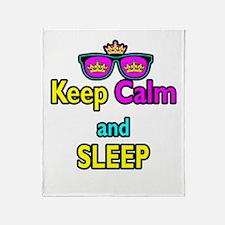 Crown Sunglasses Keep Calm And Sleep Throw Blanket