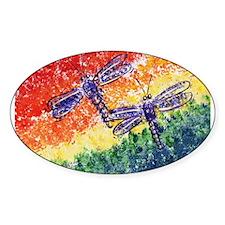 Rainbow Dragonflies Rectangle Decal