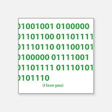 I LOVE YOU in Binary Code Sticker