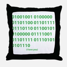 I LOVE YOU in Binary Code Throw Pillow