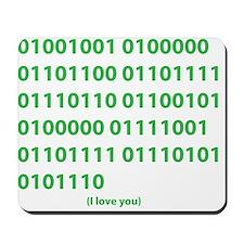 I LOVE YOU in Binary Code Mousepad