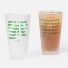 I LOVE YOU in Binary Code Drinking Glass